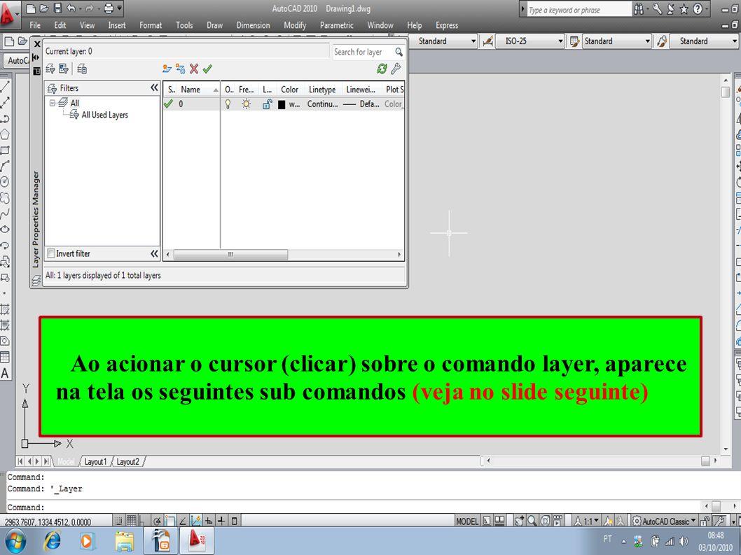 Ao acionar o cursor (clicar) sobre o comando layer, aparece