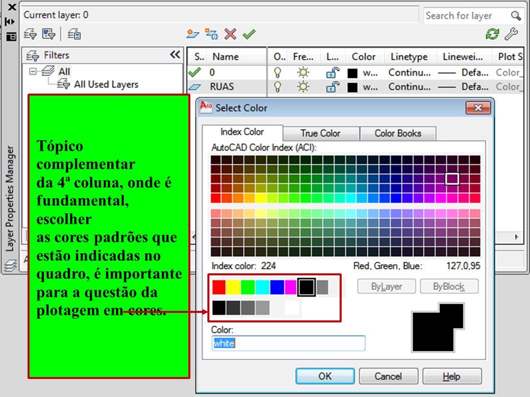 Tópico complementar da 4ª coluna, onde é. fundamental, escolher. as cores padrões que. estão indicadas no.