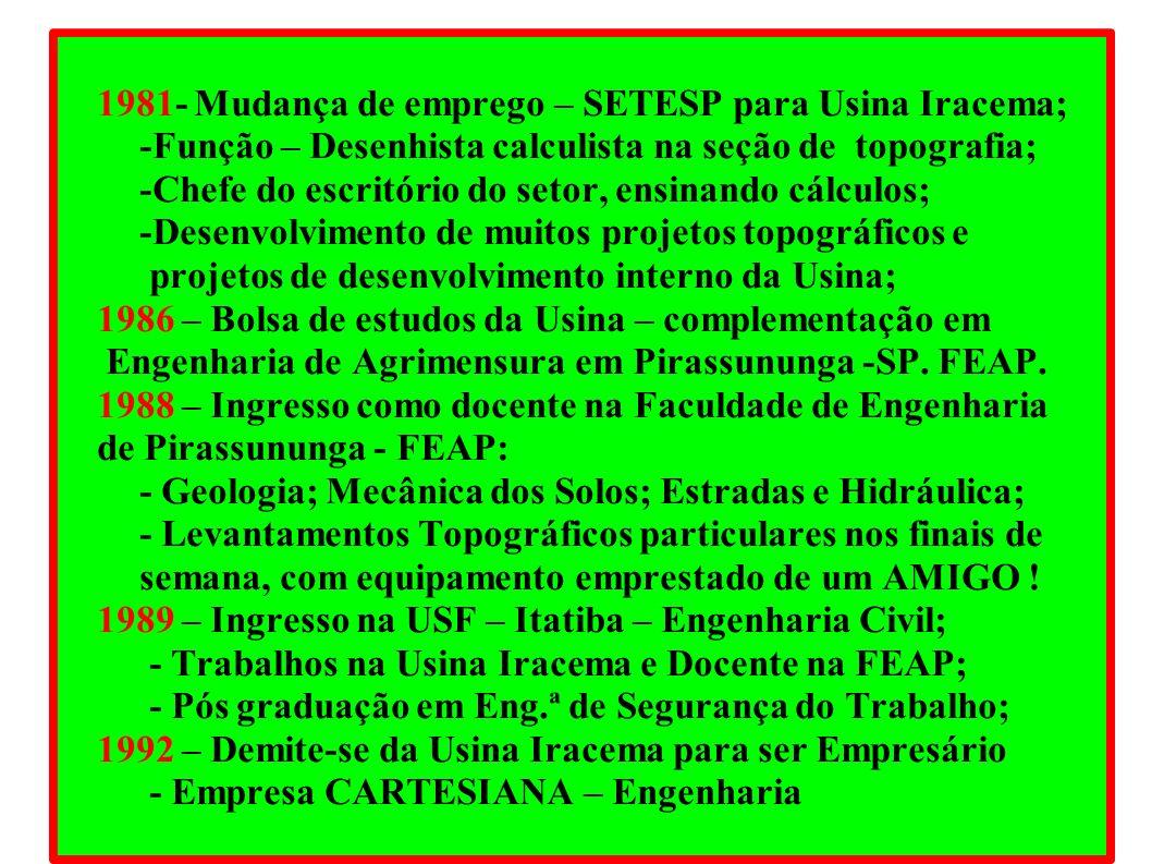 1981- Mudança de emprego – SETESP para Usina Iracema;