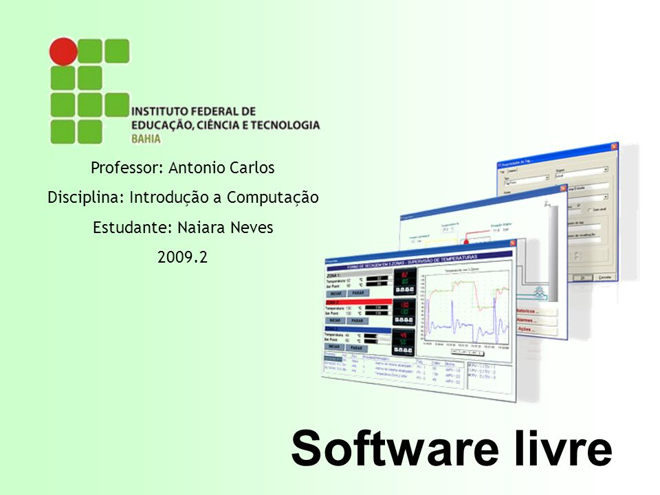 Software livre Professor: Antonio Carlos