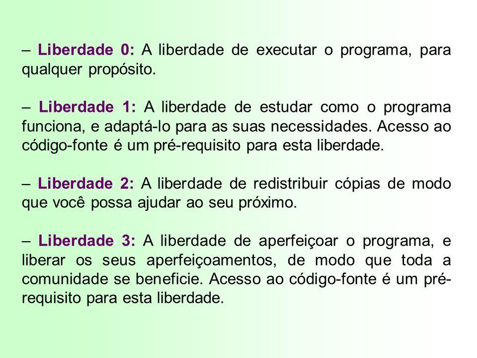 – Liberdade 0: A liberdade de executar o programa, para qualquer propósito.