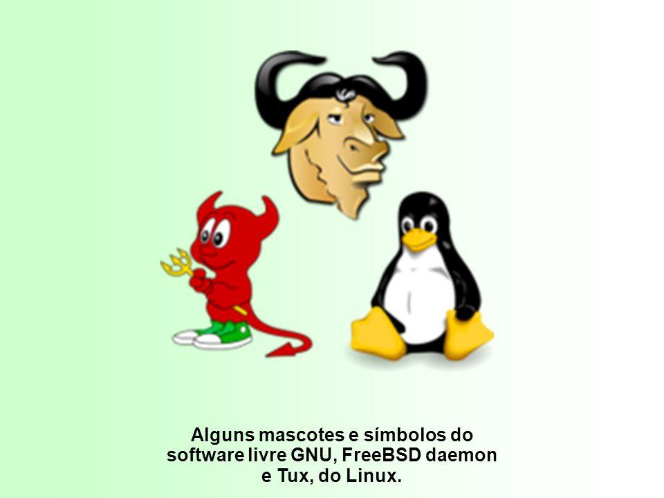 Tux. Alguns mascotes e símbolos do software livre GNU, FreeBSD daemon e Tux, do Linux.