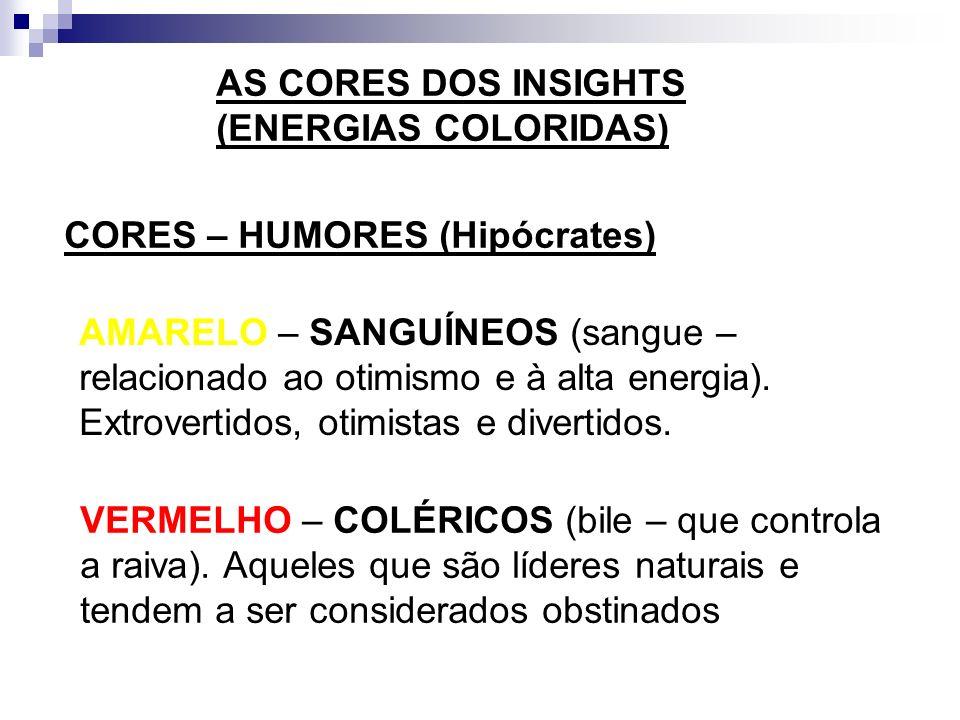 AS CORES DOS INSIGHTS (ENERGIAS COLORIDAS) CORES – HUMORES (Hipócrates)