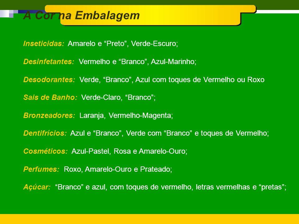 A Cor na Embalagem Inseticidas: Amarelo e Preto , Verde-Escuro;