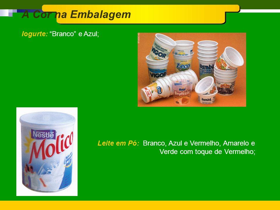 A Cor na Embalagem Iogurte: Branco e Azul;
