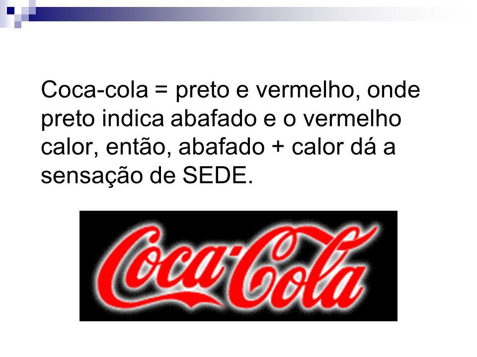Coca-cola = preto e vermelho, onde preto indica abafado e o vermelho calor, então, abafado + calor dá a sensação de SEDE.