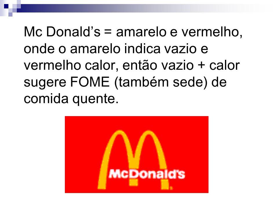 Mc Donald's = amarelo e vermelho, onde o amarelo indica vazio e vermelho calor, então vazio + calor sugere FOME (também sede) de comida quente.
