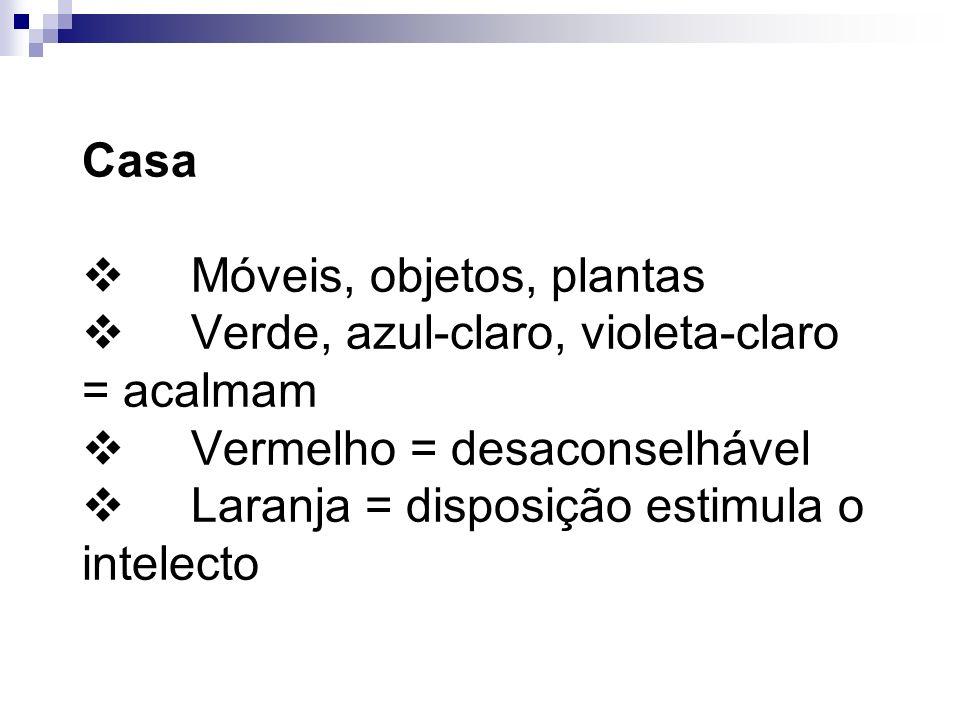 Casa v Móveis, objetos, plantas v Verde, azul-claro, violeta-claro = acalmam v Vermelho = desaconselhável v Laranja = disposição estimula o intelecto
