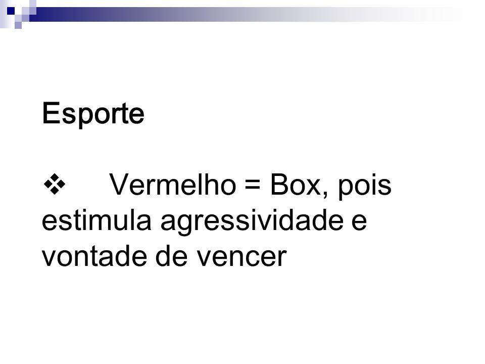 Esporte v Vermelho = Box, pois estimula agressividade e vontade de vencer