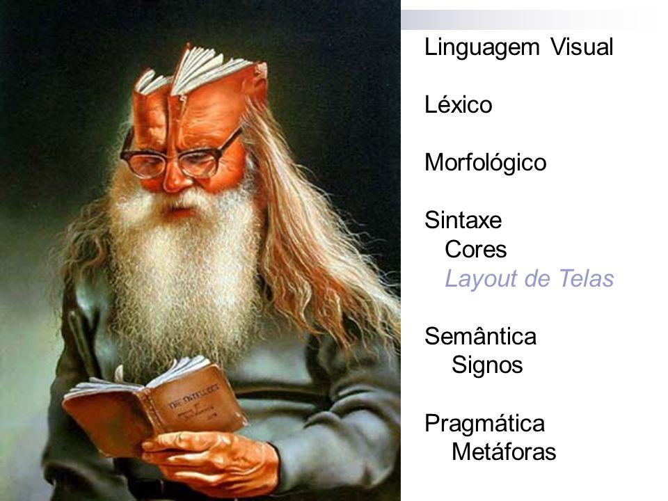 Linguagem Visual Léxico. Morfológico. Sintaxe. Cores. Layout de Telas. Semântica. Signos. Pragmática.