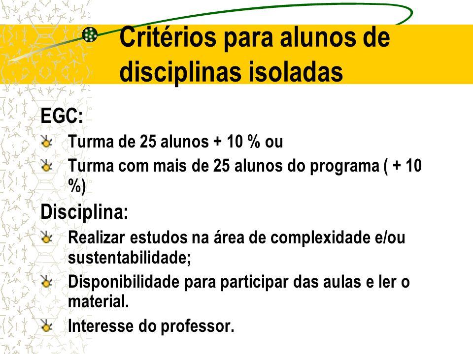 Critérios para alunos de disciplinas isoladas
