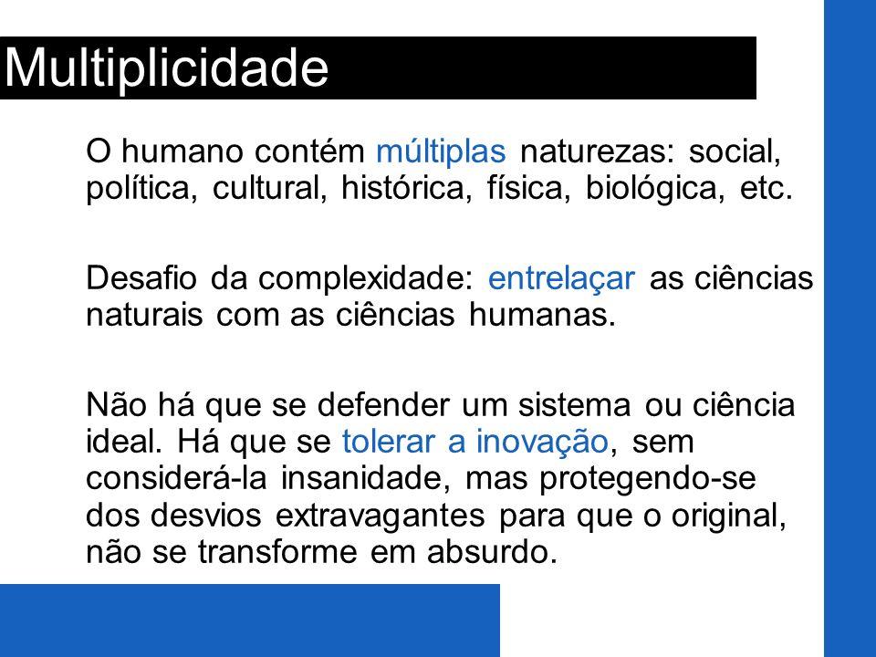 Multiplicidade O humano contém múltiplas naturezas: social, política, cultural, histórica, física, biológica, etc.