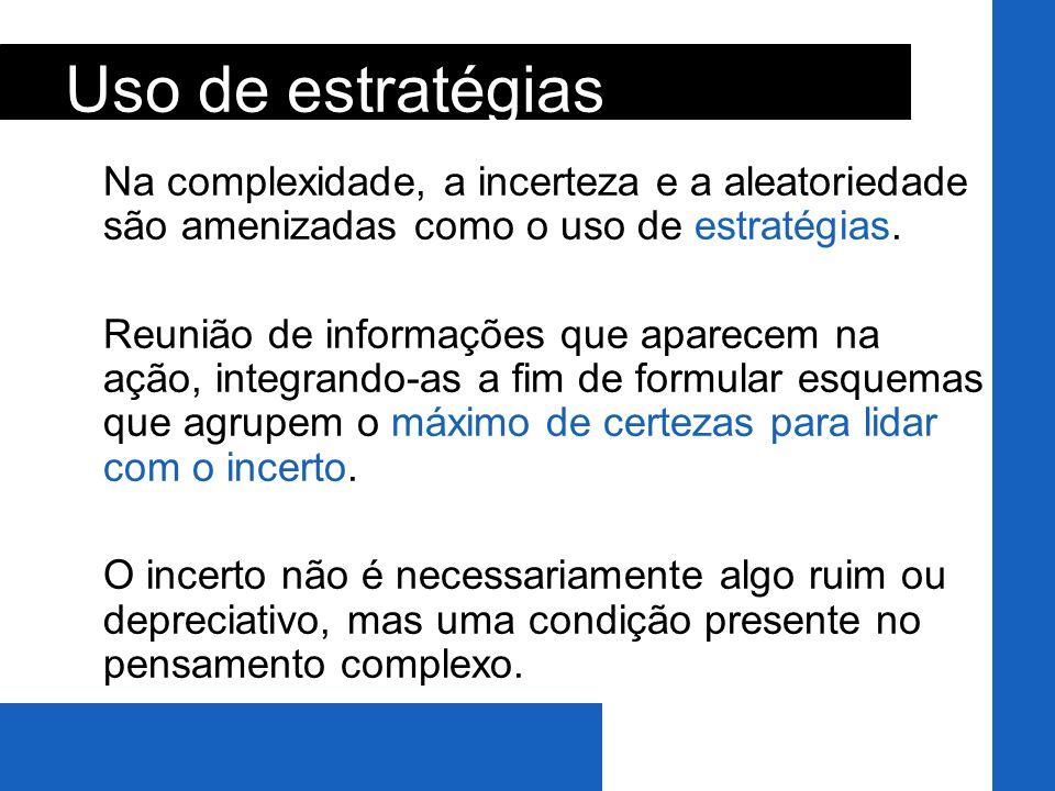 Uso de estratégias Na complexidade, a incerteza e a aleatoriedade são amenizadas como o uso de estratégias.