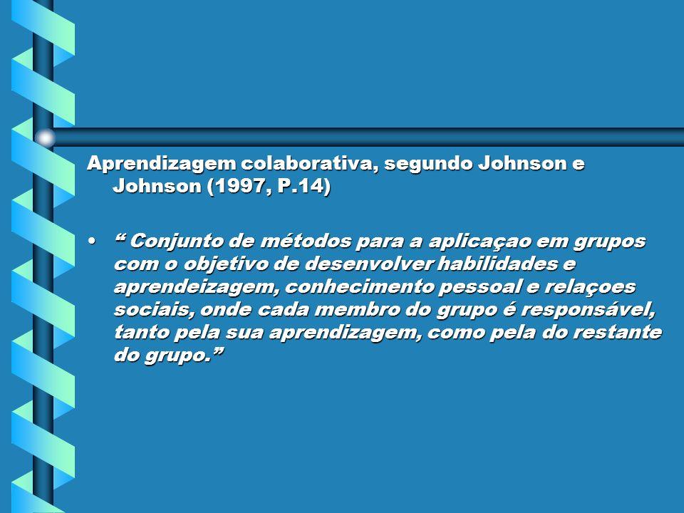 Aprendizagem colaborativa, segundo Johnson e Johnson (1997, P.14)