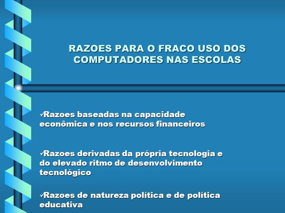 RAZOES PARA O FRACO USO DOS COMPUTADORES NAS ESCOLAS
