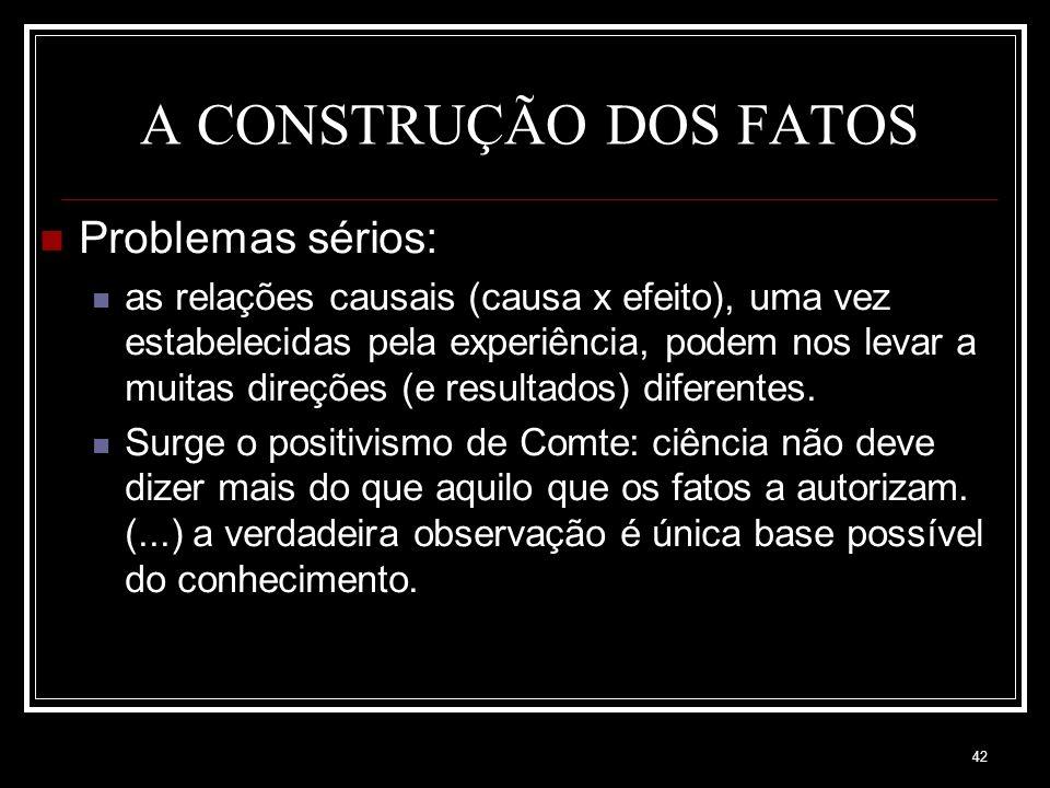 A CONSTRUÇÃO DOS FATOS Problemas sérios: