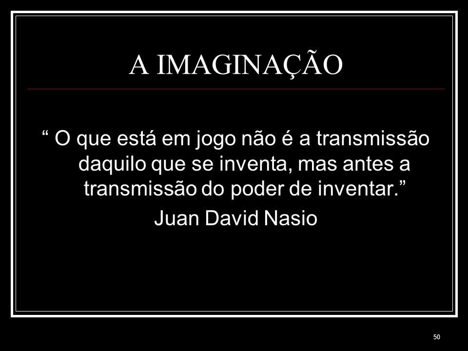A IMAGINAÇÃO O que está em jogo não é a transmissão daquilo que se inventa, mas antes a transmissão do poder de inventar.