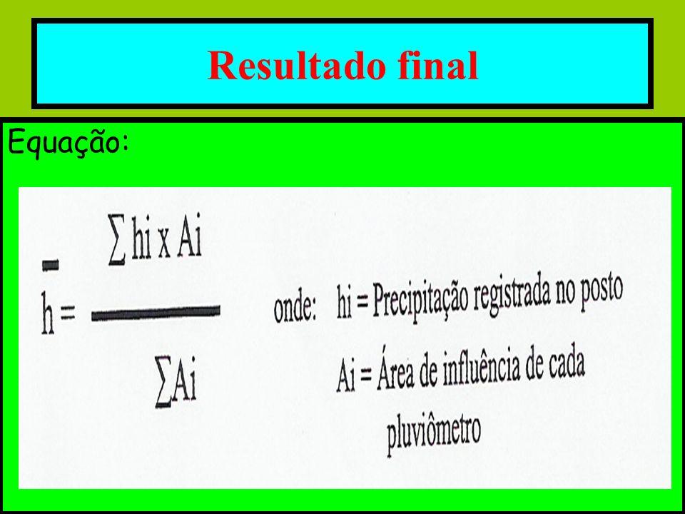 Resultado final Equação: