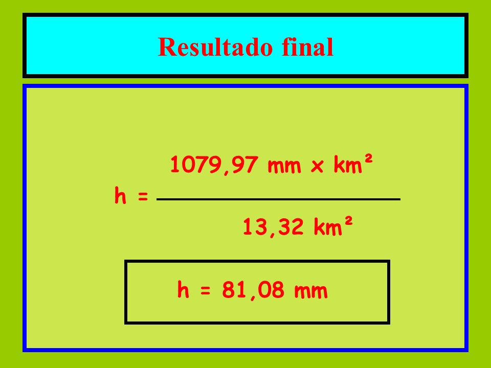 Resultado final 1079,97 mm x km² h = 13,32 km² h = 81,08 mm
