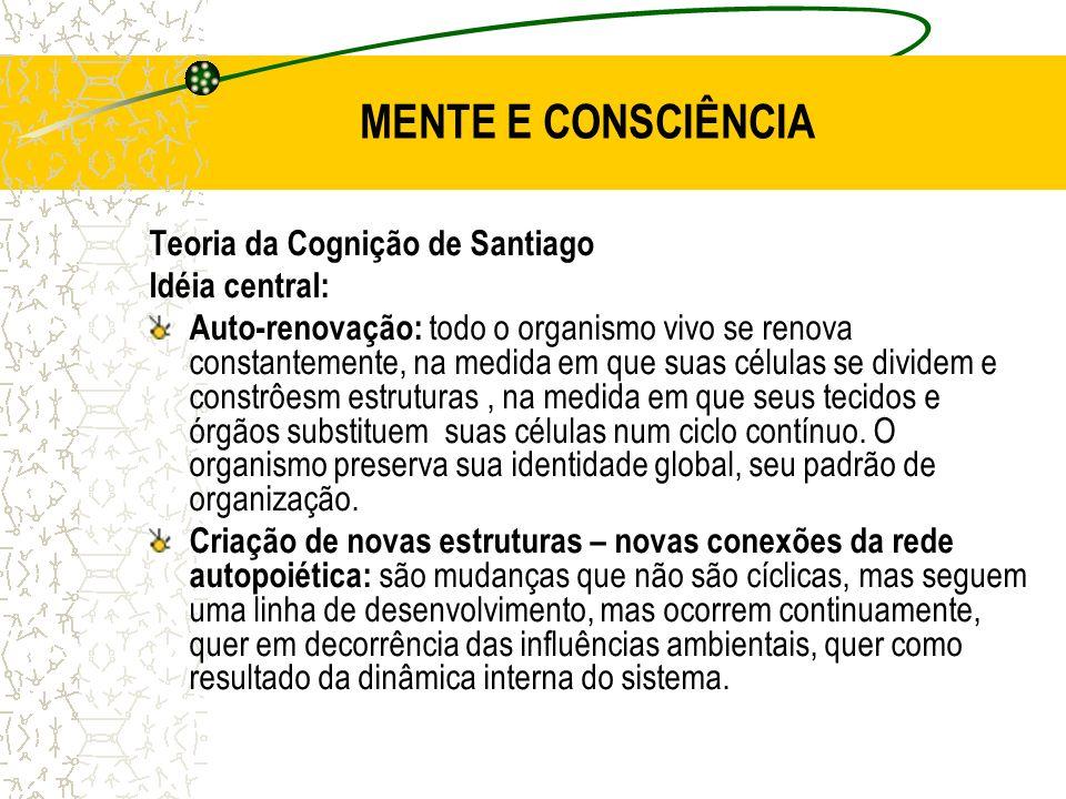 MENTE E CONSCIÊNCIA Teoria da Cognição de Santiago Idéia central: