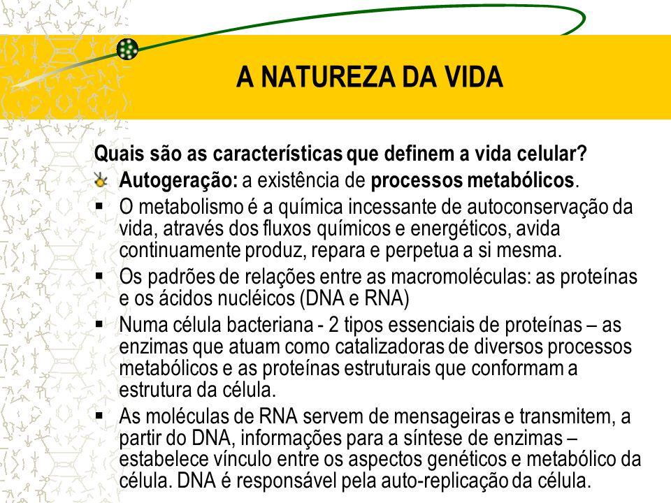 A NATUREZA DA VIDA Quais são as características que definem a vida celular Autogeração: a existência de processos metabólicos.
