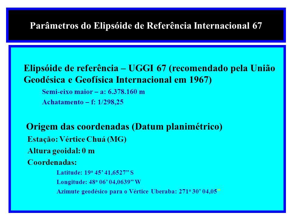 Parâmetros do Elipsóide de Referência Internacional 67