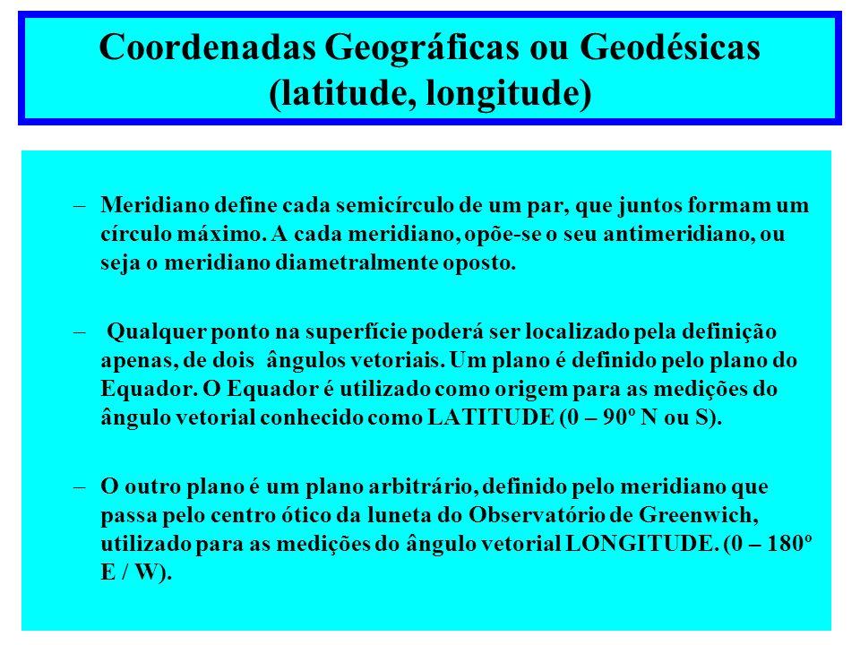 Coordenadas Geográficas ou Geodésicas (latitude, longitude)