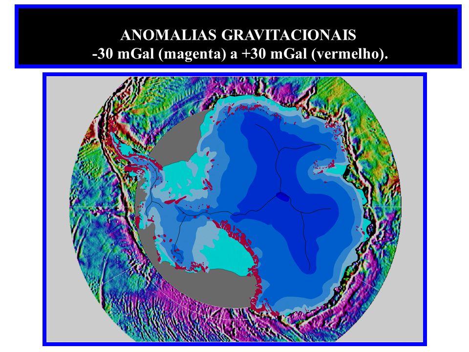 ANOMALIAS GRAVITACIONAIS -30 mGal (magenta) a +30 mGal (vermelho).