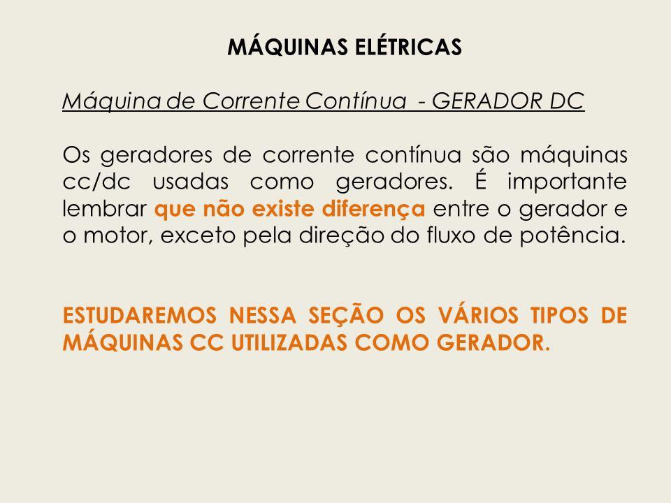 MÁQUINAS ELÉTRICAS Máquina de Corrente Contínua - GERADOR DC.