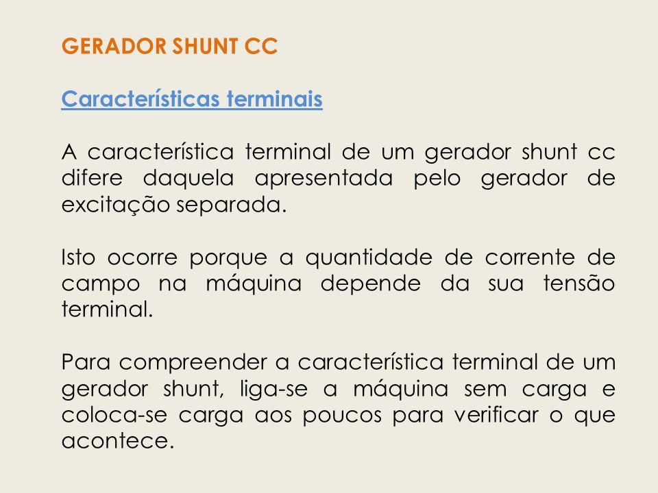 GERADOR SHUNT CC Características terminais.