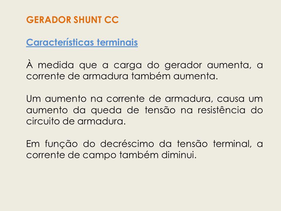 GERADOR SHUNT CC Características terminais. À medida que a carga do gerador aumenta, a corrente de armadura também aumenta.