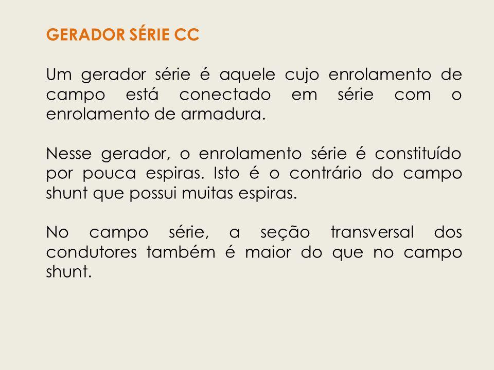GERADOR SÉRIE CC Um gerador série é aquele cujo enrolamento de campo está conectado em série com o enrolamento de armadura.