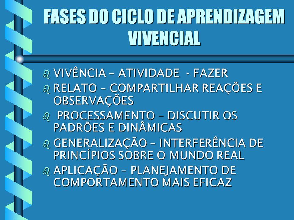 FASES DO CICLO DE APRENDIZAGEM VIVENCIAL