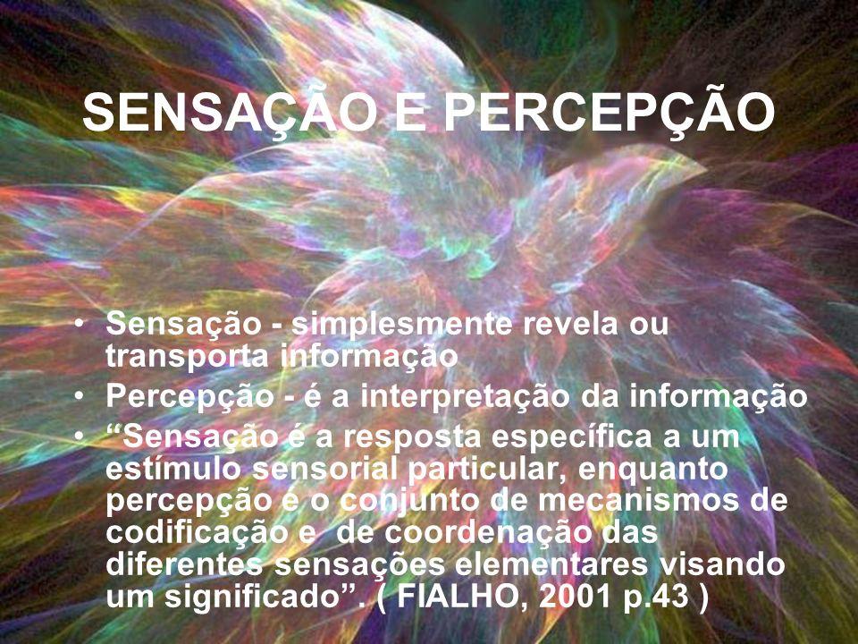 SENSAÇÃO E PERCEPÇÃO Sensação - simplesmente revela ou transporta informação. Percepção - é a interpretação da informação.