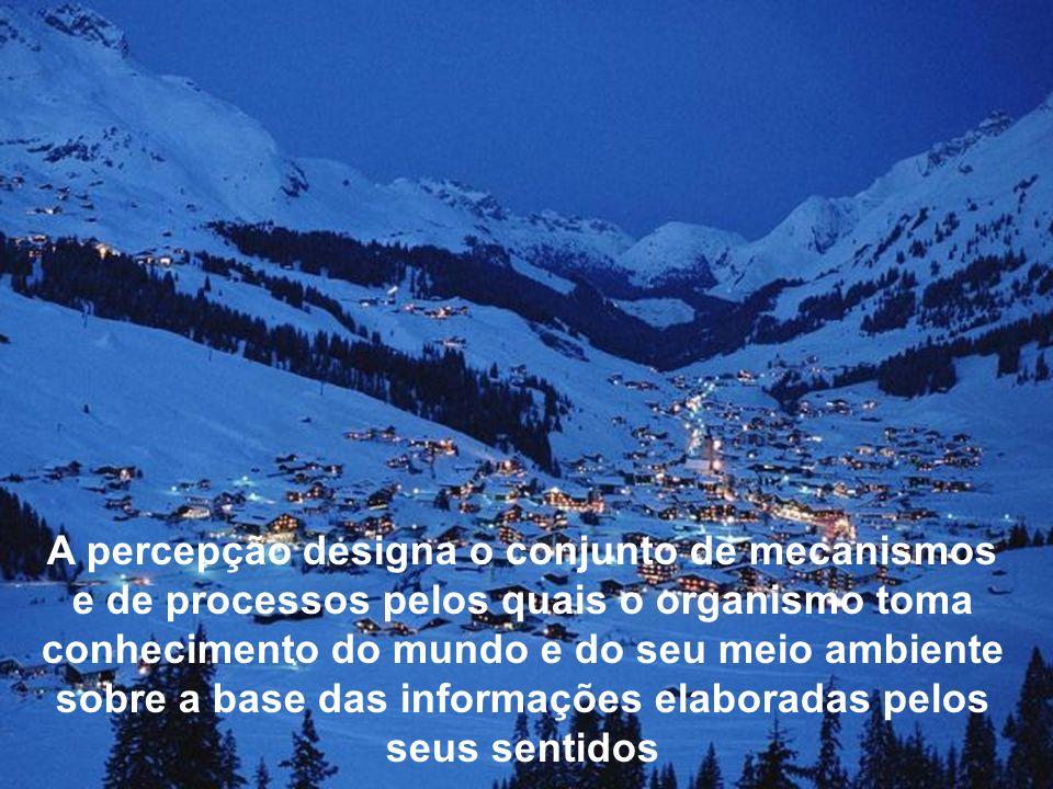A percepção designa o conjunto de mecanismos e de processos pelos quais o organismo toma conhecimento do mundo e do seu meio ambiente sobre a base das informações elaboradas pelos seus sentidos