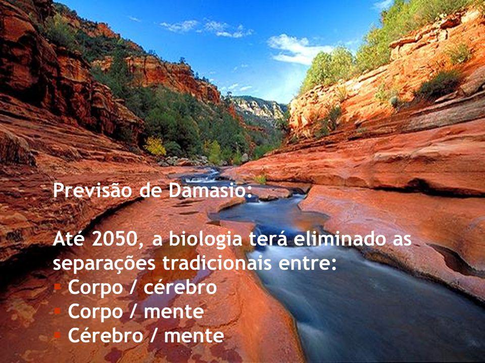 Previsão de Damasio: Até 2050, a biologia terá eliminado as separações tradicionais entre: Corpo / cérebro.