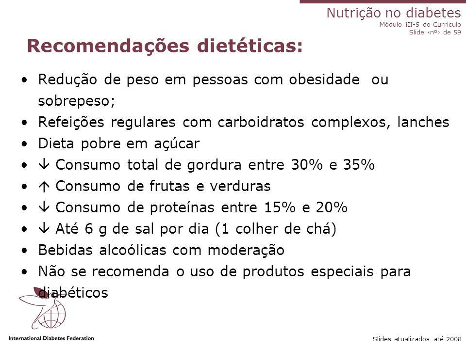 Recomendações dietéticas: