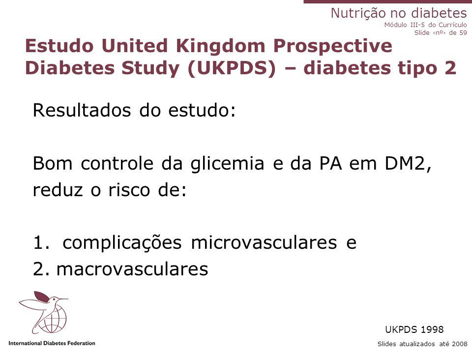 Bom controle da glicemia e da PA em DM2, reduz o risco de: