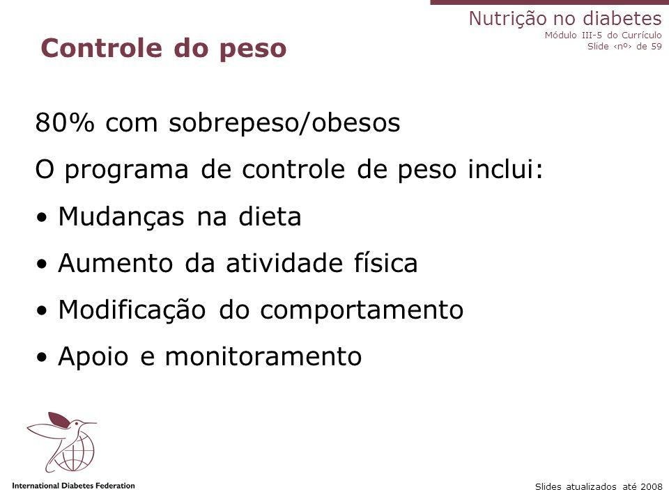 80% com sobrepeso/obesos O programa de controle de peso inclui: