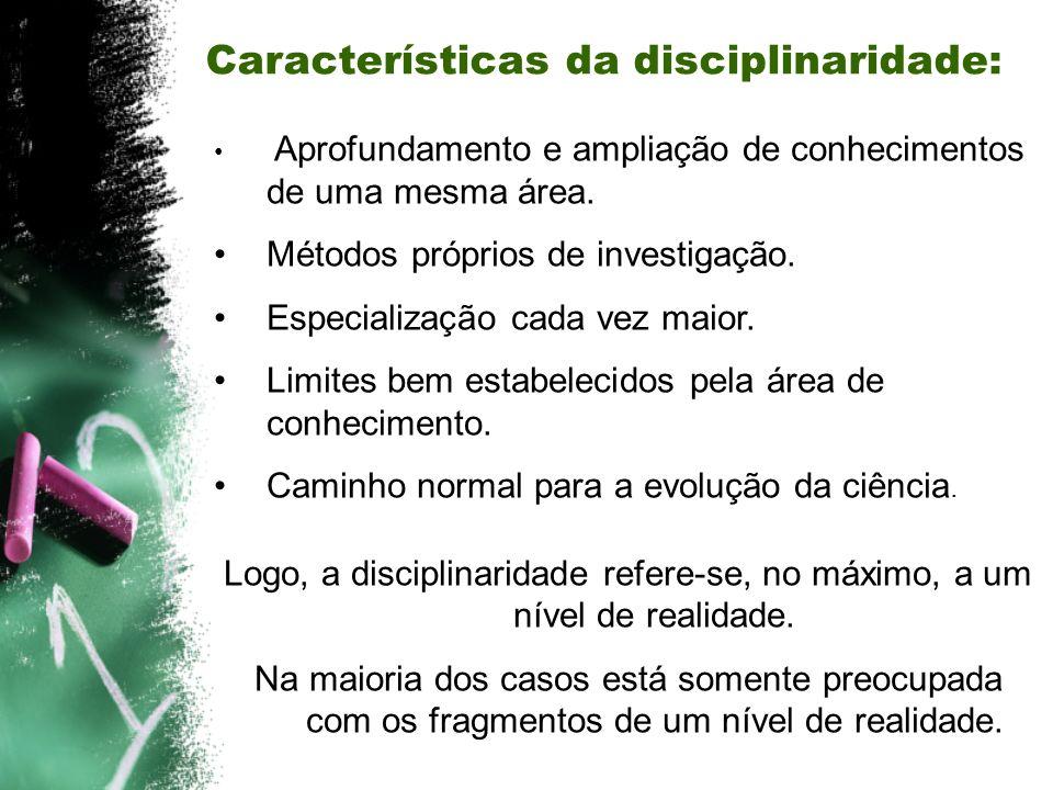 Características da disciplinaridade: