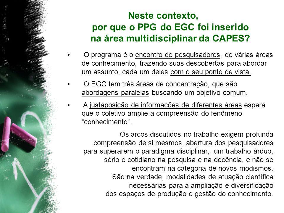 Neste contexto, por que o PPG do EGC foi inserido na área multidisciplinar da CAPES