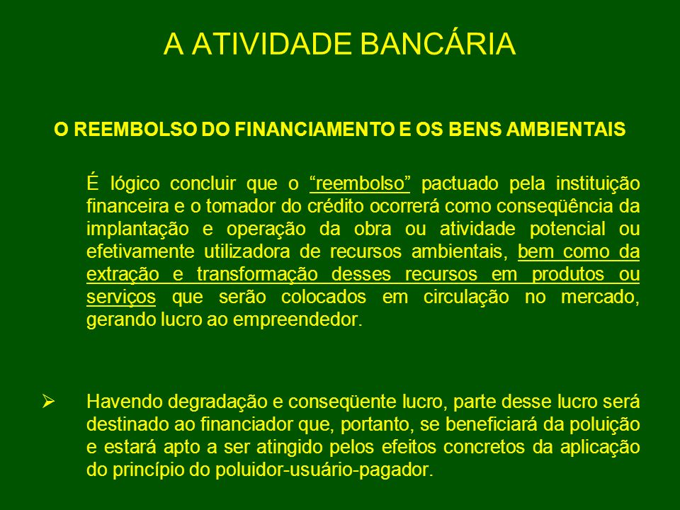 O REEMBOLSO DO FINANCIAMENTO E OS BENS AMBIENTAIS