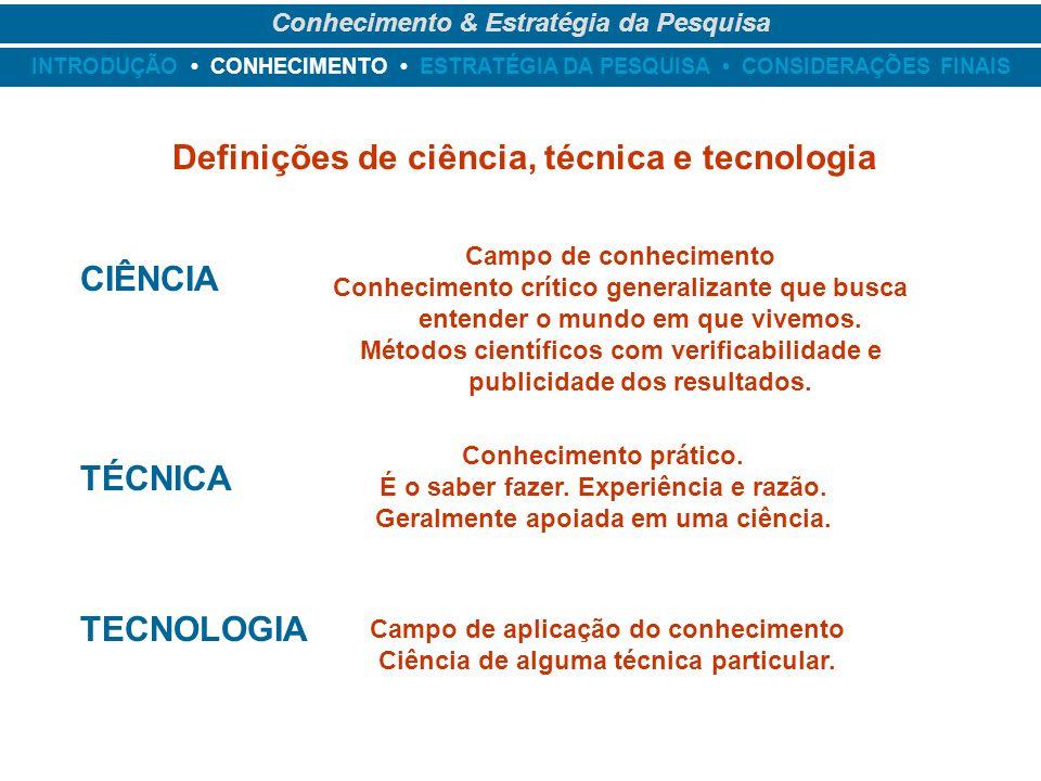 Definições de ciência, técnica e tecnologia