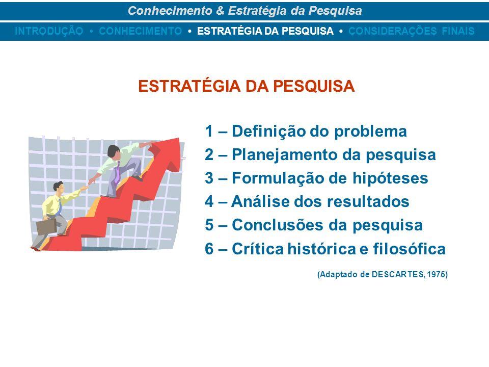 Conhecimento & Estratégia da Pesquisa ESTRATÉGIA DA PESQUISA