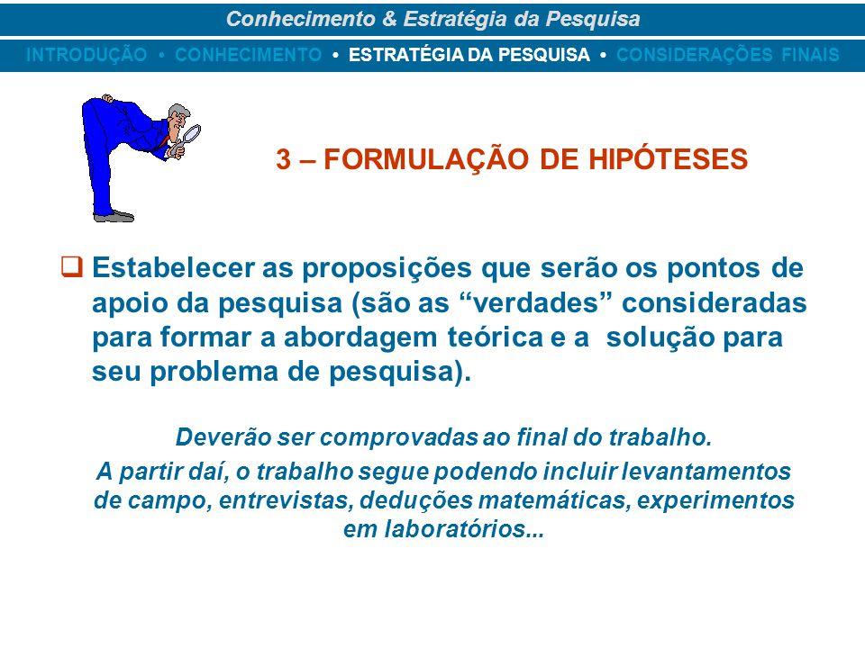 3 – FORMULAÇÃO DE HIPÓTESES