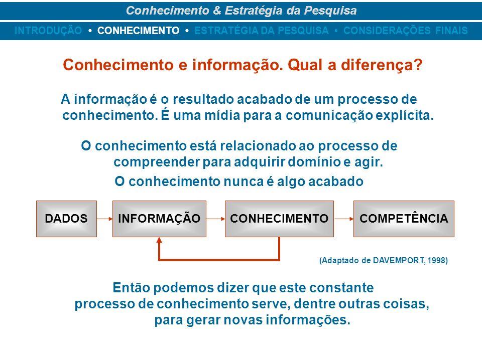 Conhecimento e informação. Qual a diferença