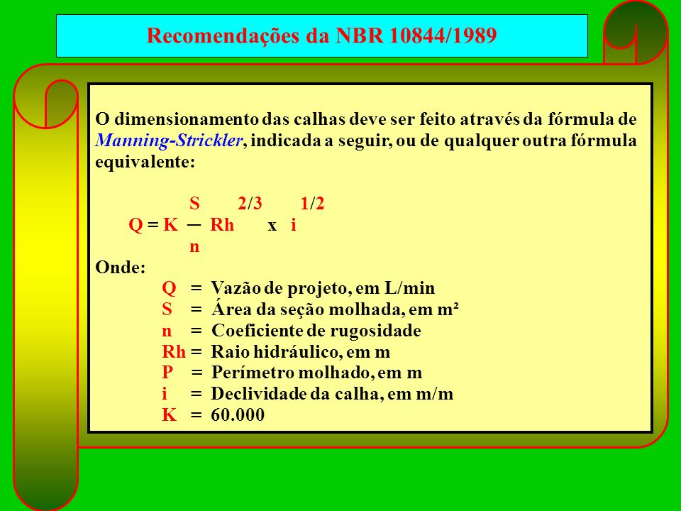 Recomendações da NBR 10844/1989