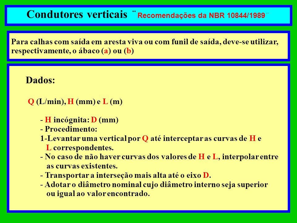 Condutores verticais ¨Recomendações da NBR 10844/1989¨