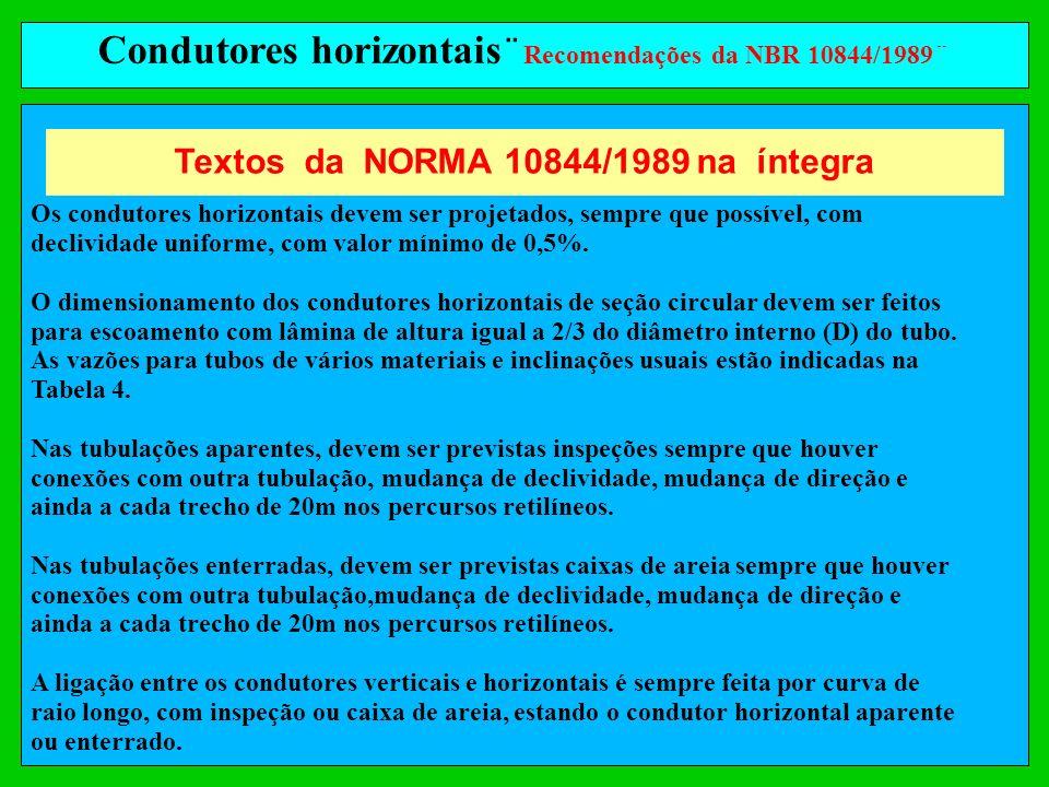 Condutores horizontais¨Recomendações da NBR 10844/1989¨