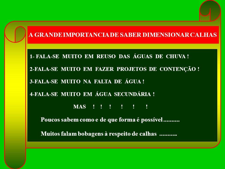 A GRANDE IMPORTANCIA DE SABER DIMENSIONAR CALHAS